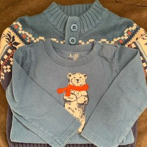 Gap sweater and onesie.